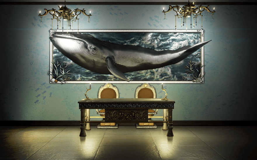 Украшение синего кита в дом